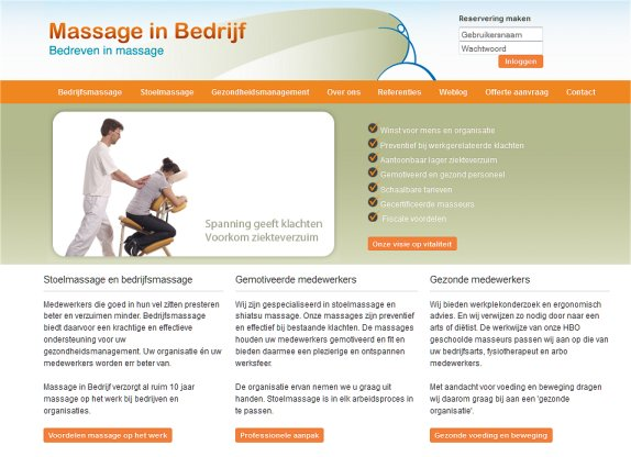 website massage in bedrijf