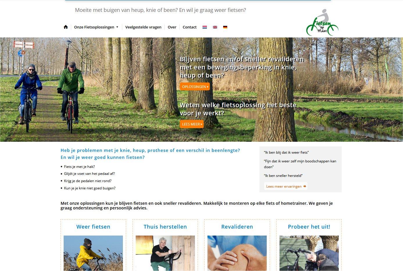 Website Fietsen op Maat, fietshulpmiddelen.